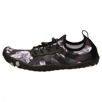 HEYBRID SIDNEY Aqua-Schnürschuh schwarz  mit grauem Blumen-Muster